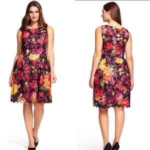 Adrianna Papell Black Floral Lace Sleeveless Dress